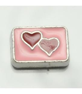 Charm 2 hartjes in roze