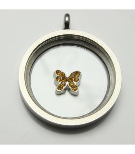 Charm Vlinder goud-strass